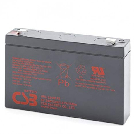 CSB HRL634WF2 6 Volt 9 AH Sealed Lead Acid Battery