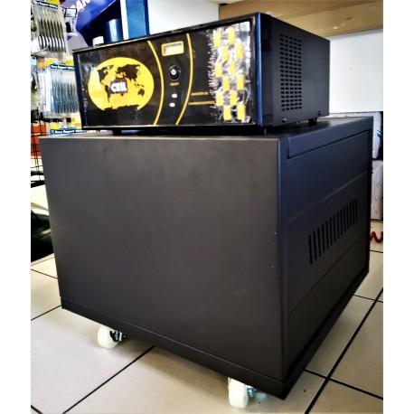 1450VA 1160W Pure Sine Wave Inverter/Charger Trolley With Steel Battery Cabinet and Two 100 aH Deep Cycle Batteries