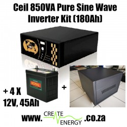 CEIL 850VA / 650W Pure Sine Wave 185 A-h Inverter/Charger Trolley with 4 x 45 Ah 12V Storage Batteries